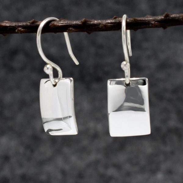 Small Rectangle Silver Earrings | High Polished Sterling Silver | French Wire Sterling Silver Earrings