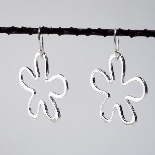 Off-Center Signature Daisy Flower Silver Earrings | High Polished Sterling Silver | French Wire Sterling Silver Earrings