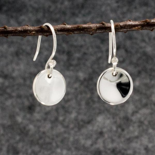 Small Dapped Disc Silver Earrings | High Polished Sterling Silver | French Wire Sterling Silver Earrings