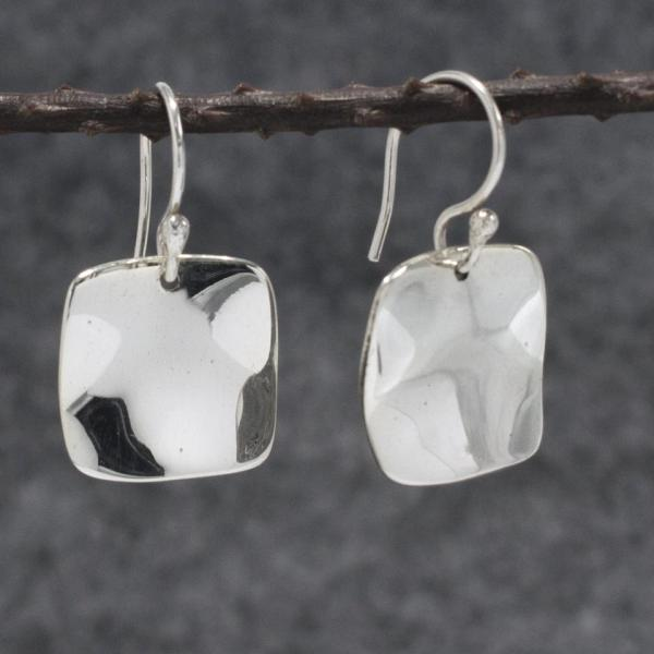 Lucilla Square Silver Earrings | Wave | High Polished Sterling Silver | French Wire Sterling Silver Earrings