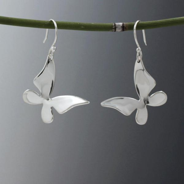 Queen Butterfly Silver Earrings | High Polished Sterling Silver | French Wire Sterling Silver Earrings