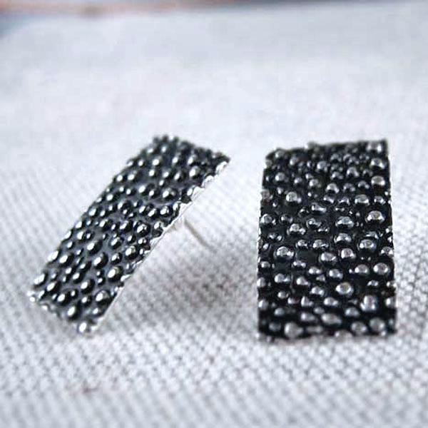 Rectangle Dotted Silver Earrings | Oxidized Sterling Silver | Sterling Silver Post Earrings