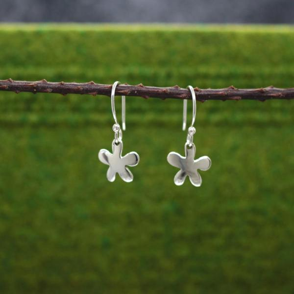 Small Daisy Silver Earrings | High Polished Sterling Silver | French Wire Sterling Silver Earrings