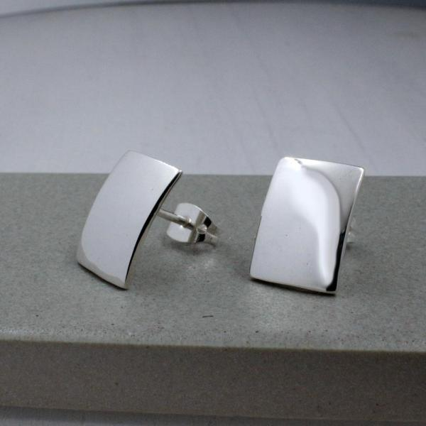 Small Rectangle Silver Earrings | High Polished Sterling Silver | Sterling Silver Post Earrings