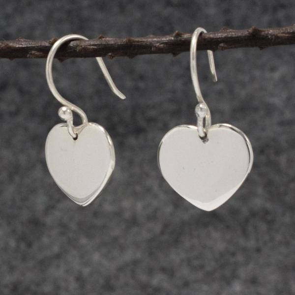 Miller Heart Silver Earrings | High Polished Sterling Silver | French Wire Sterling Silver Earrings