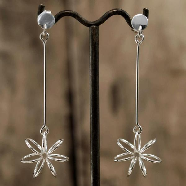 Floating Flower Silver Earrings | High Polished Sterling Silver | Dangling Post Sterling Silver Earrings