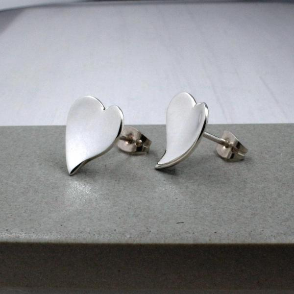 Small Dapped OVE Heart Silver Earrings | High Polished Sterling Silver | Sterling Silver Post Earrings