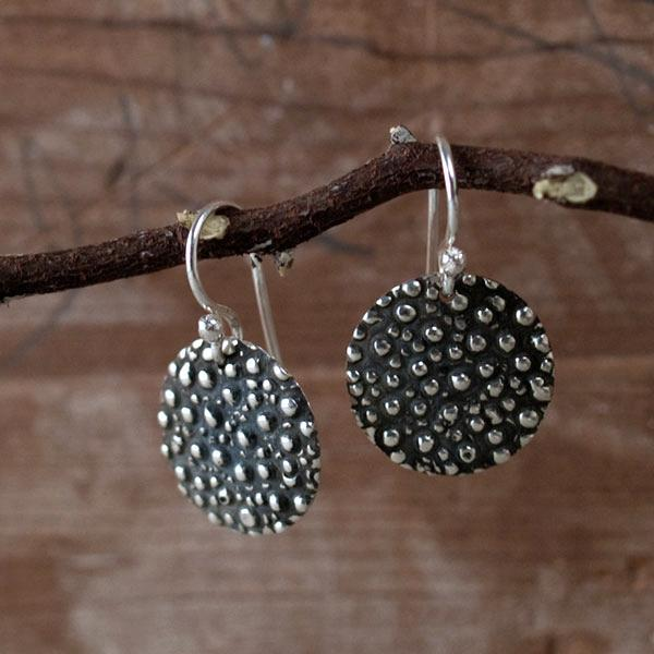 Disc Dotted Silver Earrings | Oxidized Sterling Silver | French Wire Sterling Silver Earrings
