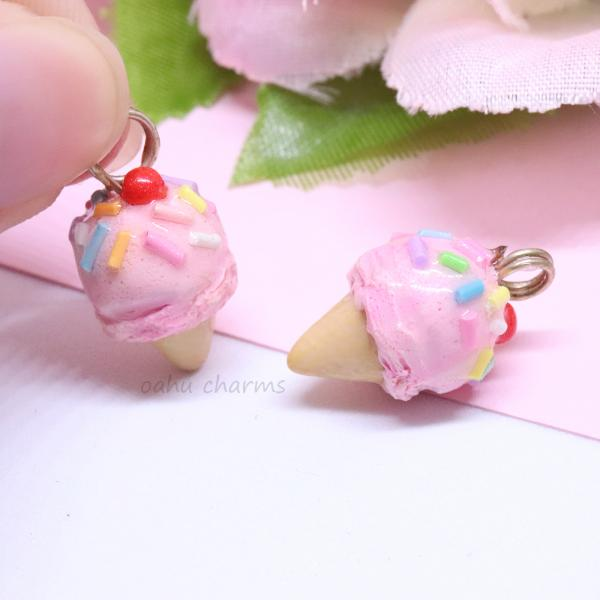 Pink Sprinkle Ice Cream Charm