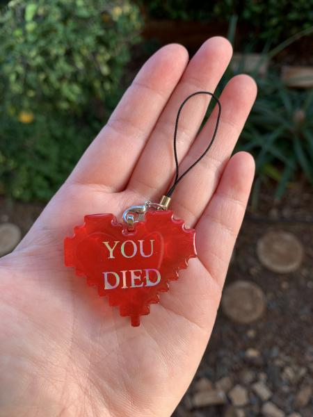 8-Bit Heart Phone Charm- You Died