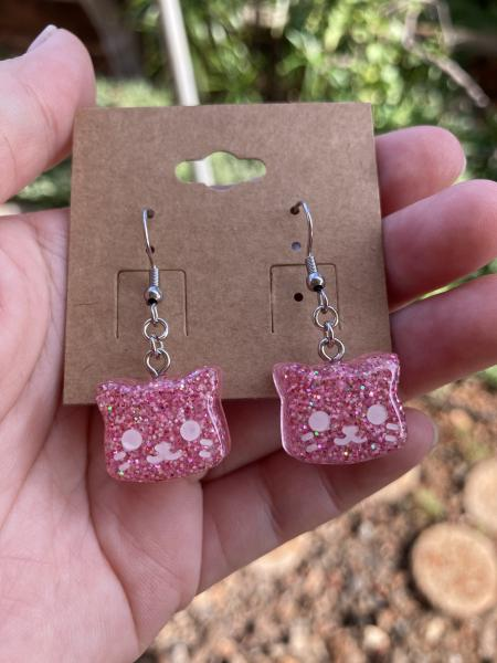 Bright Pink Cat Earrings picture