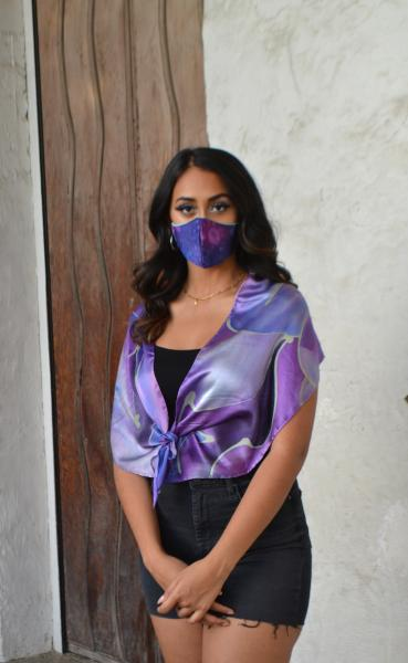 Purple paisley scarf-mask