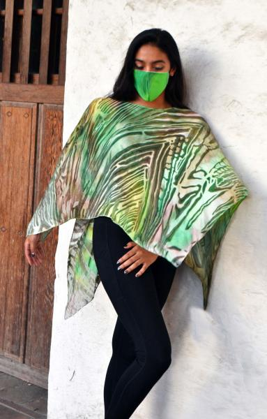 Green forest Devore poncho
