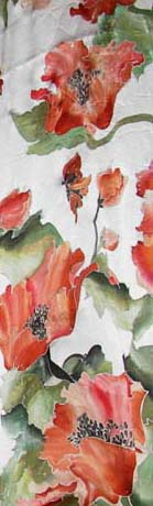 Red poppy silk scarf picture