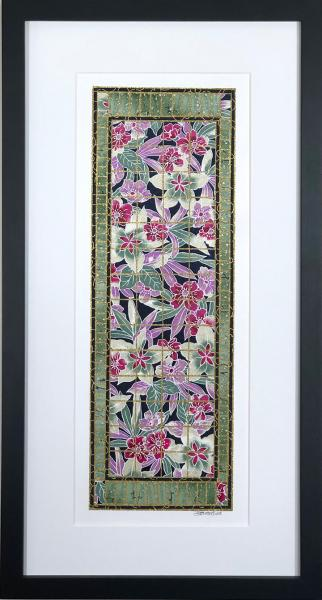 "Exotic Purple Flowers - 10"" x 20"" Framed, Matted Washi Mosaic picture"