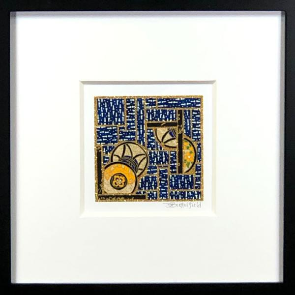 "Coins on Blue - 8""x8"" Framed, Matted Washi Mosaic picture"