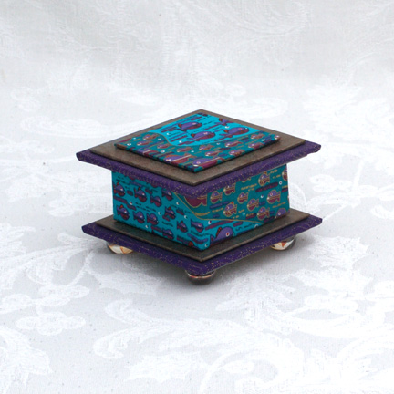 "Pisces Washi Covered Box, 3""x3"" (brim to brim); 2"" tall"