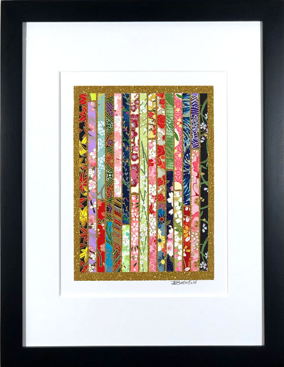 "Clothesline - 9""x12"" Framed, Matted Washi Mosaic picture"
