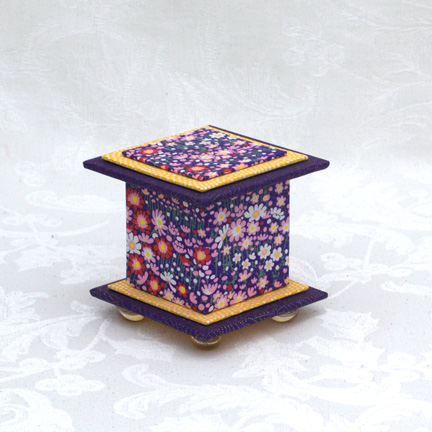 "Purple Happy Washi Covered Box, 3""x3"" (brim to brim); 3.38"" tall"