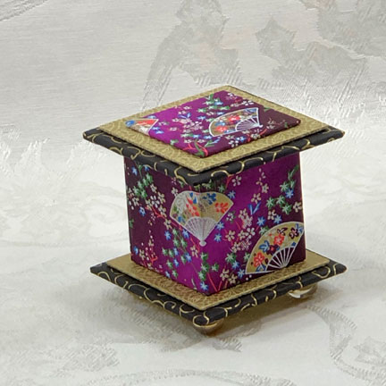 "Purple Fan Washi Covered Box, 3""x3"" (brim to brim); 3.38"" tall"