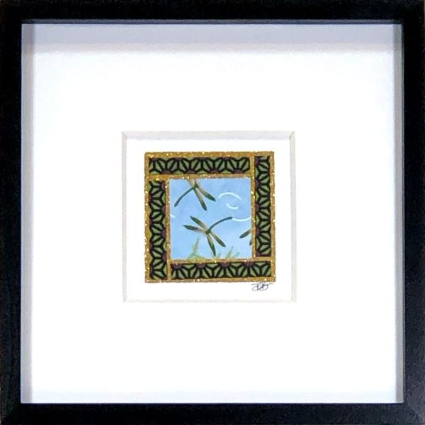 "Dragonfly 001  - 6""x6"" Framed, Matted Washi Mosaic"