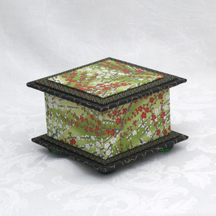 "Green Cherry Washi Covered Box, 4.5""x 4.5"" (brim to brim); 3.25"" tall"