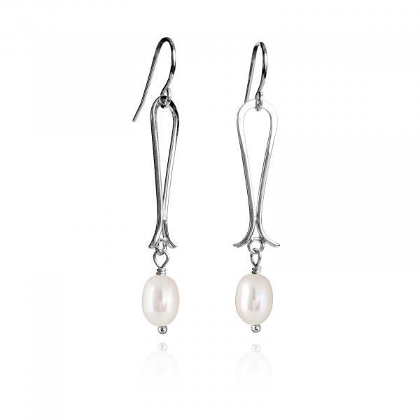 Flared Bottom dangle Earrings - White Pearl picture
