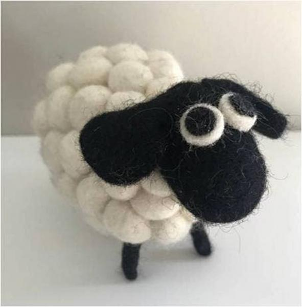 White or Rainbow Pom Pom sheep pin cushions or figures