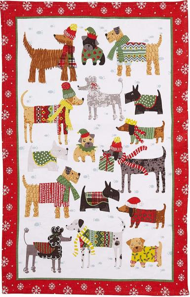 Sheep holiday tea towel picture