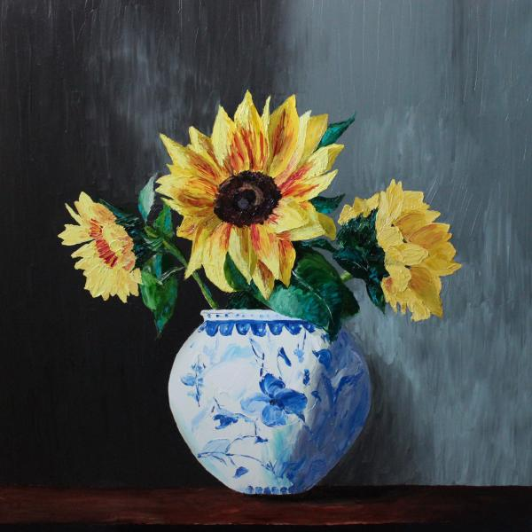 Sunflowers in Blue - original oil painting