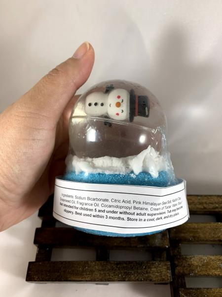 Holiday Snow Globe Bath Bombs | Bath Bombs for Kids | Stocking Stuffers | Glitter Bouncy Ball Toy with Bath Bomb | With Bubble Frosting picture