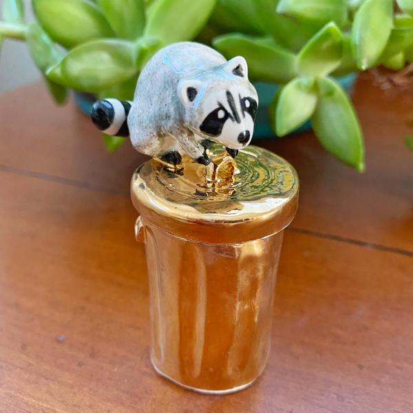 Gold Trash Digger Raccoon Container