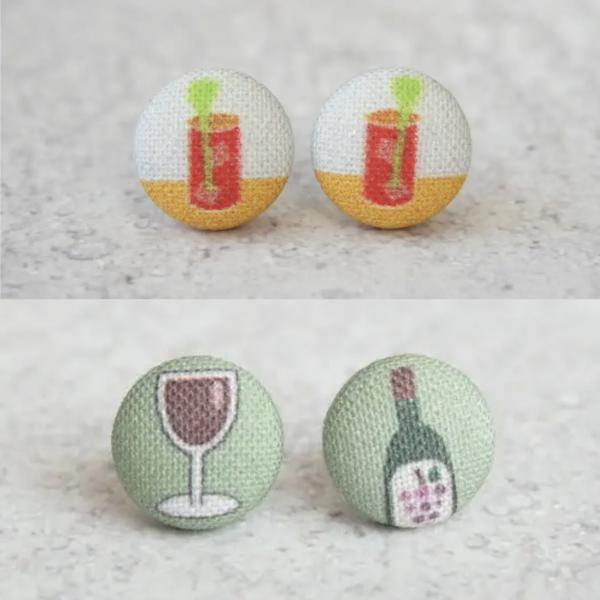 Red Wine + Bloody Mary Fabric Button Earrings