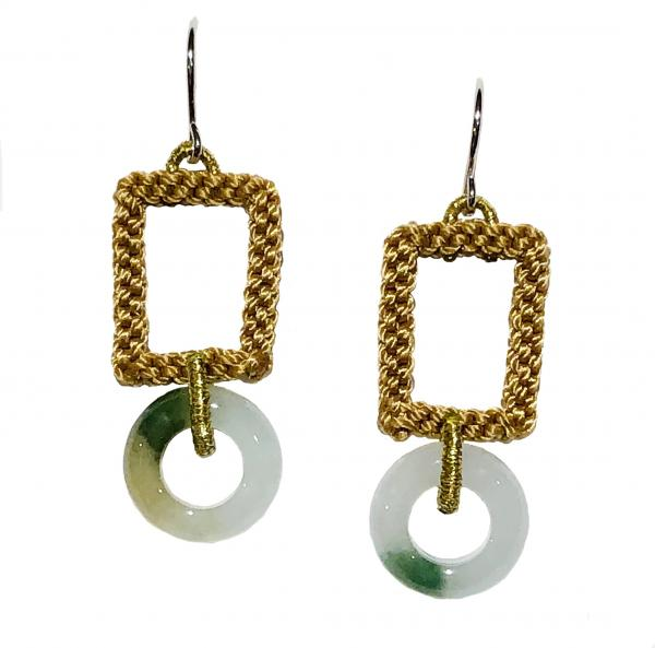 Jade Circle Mustard/Macrame Earrings