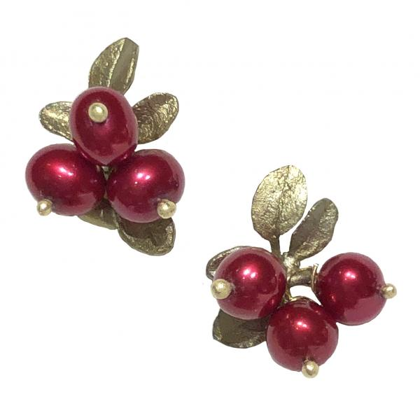 Michael Michaud Cranberry Clip-On Earrings