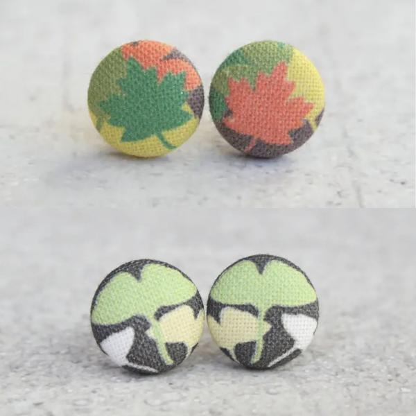 Fall / Gingko Leaves Fabric Button Earrings