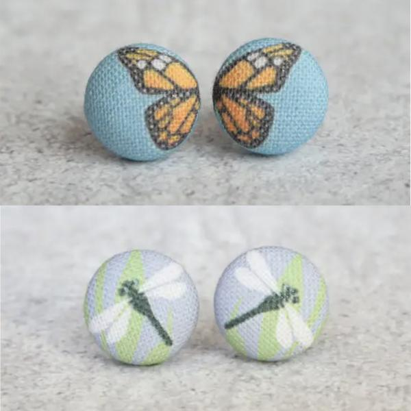 Dragonfly / Monarch Butterfly Fabric Button Earrings
