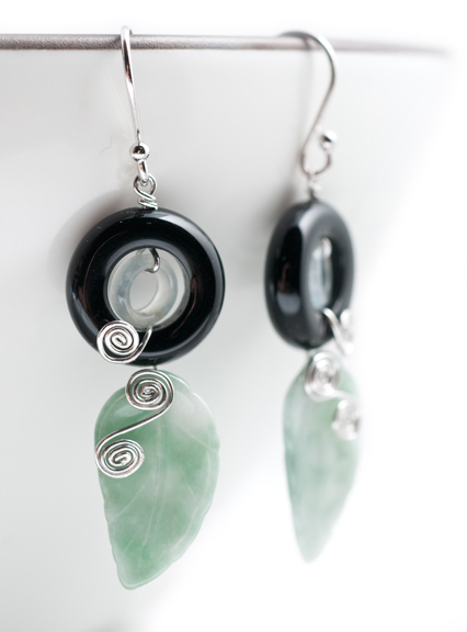 Jade Leaf & Onyx Earrings