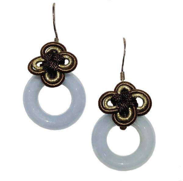 Jade Circle Eternity Knot Earrings