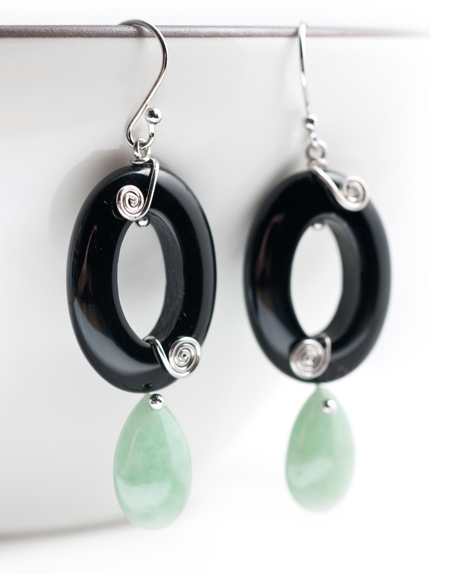 Jade & Onyx Earrings