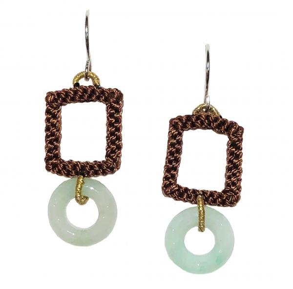 Jade Circle Cocoa Macrame Earrings