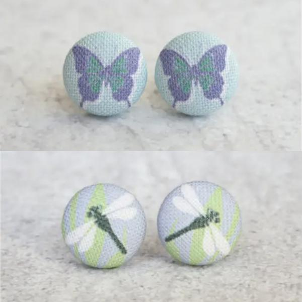 Dragonfly / Watercolor Butterfly Fabric Button Earrings