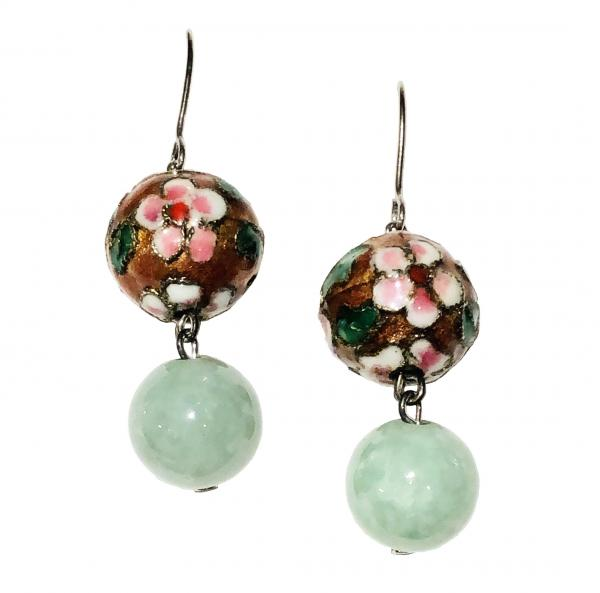 Cloisonne Jade Bead Earrings