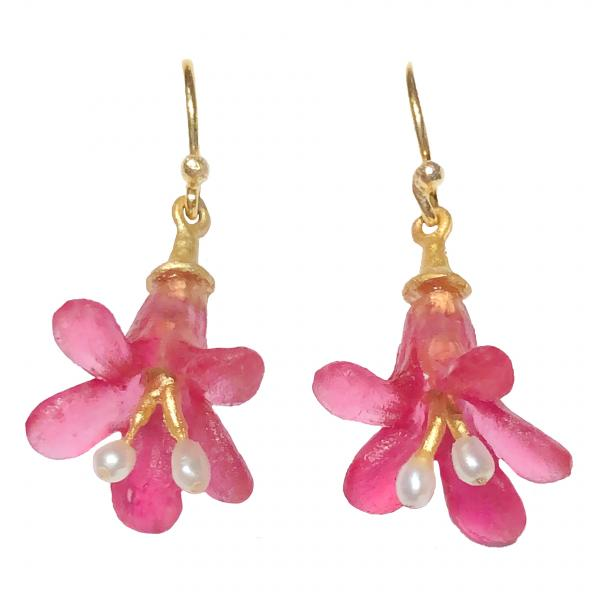 Michael Michaud Pink Bell Flower Earrings