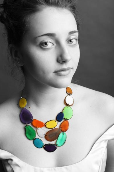 Multi-colored large bib necklace