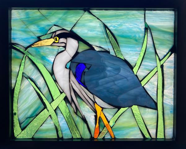Great Blue Heron Stained Glass Suncatcher Mosaic