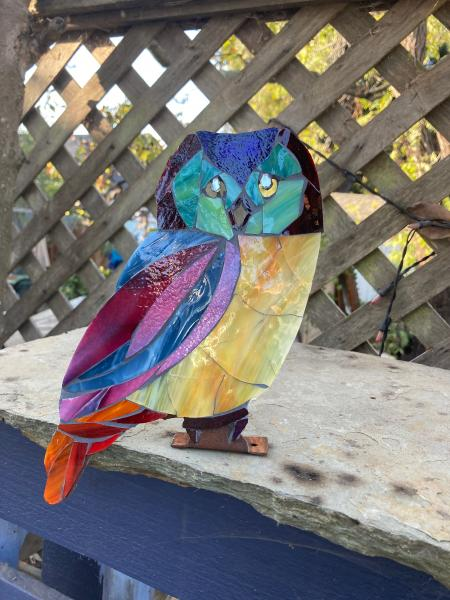 Colorful Mosaic Owl Garden Art