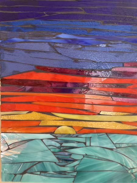 Sunset Over Water Glass Mosaic