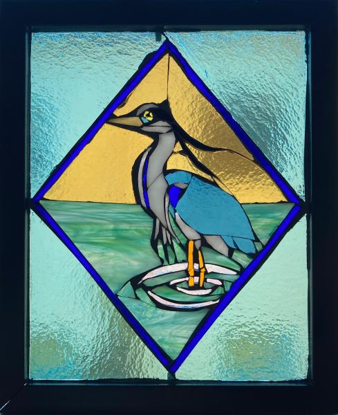 Great Blue Heron/Geo Stained Glass Suncatcher Mosaic