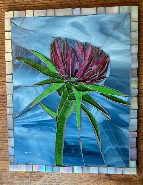 Thistle Flower Glass Mosaic Art